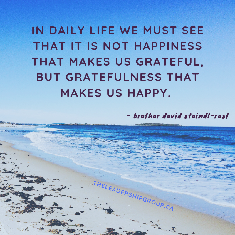 In daily life we must see that it is not happiness that makes us grateful, but gratefulness that makes us happy.
